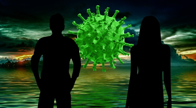 Illustration of man and woman and covid19 bacteria